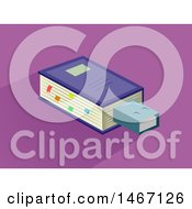 Clipart Of A Book With A Flash Drive Royalty Free Vector Illustration by BNP Design Studio