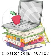 Clipart Of A Sketched Apple On A Laptop Computer Over A Stack Of Books Royalty Free Vector Illustration