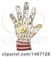 Clipart Of A Sketched Hand With Letters Numbers And A Light Bulb Royalty Free Vector Illustration