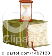 Clipart Of A Hourglass On Top Of A Massive Book Royalty Free Vector Illustration