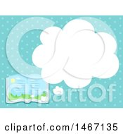 Clipart Of A Story Book With A Thought Balloon Over Blue Dots Royalty Free Vector Illustration