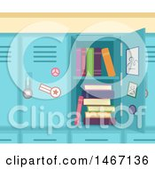 Clipart Of A School Locker With Books Royalty Free Vector Illustration by BNP Design Studio