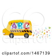 Clipart Of A School Bus With Abc Characters And Letter Exhaust Royalty Free Vector Illustration