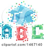 Clipart Of A Pixelated Graduation Cap And ABC Letters Royalty Free Vector Illustration