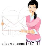 Clipart Of A Female Teacher Holding A Giant Envelope Royalty Free Vector Illustration by BNP Design Studio