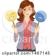 Female Teacher Holding Happy And Sad Masks