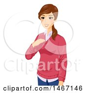 Clipart Of A Female Teacher Introducing Herself Royalty Free Vector Illustration
