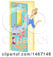 Clipart Of A Female Teacher Peeking Around A Door And Welcoming Royalty Free Vector Illustration by BNP Design Studio