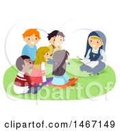 Clipart Of A Group Of Teenagers Gathered Around A Nun Reading The Bible Royalty Free Vector Illustration