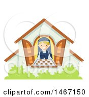 Clipart Of A Nun Holding Fresh Baked Cookies At A Window Royalty Free Vector Illustration by BNP Design Studio
