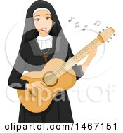 Clipart Of A Nun Playing A Guitar Royalty Free Vector Illustration by BNP Design Studio