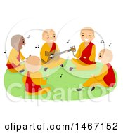 Group Of Teenage Monks Singing And Playing A Guitar