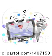 Clipart Of A Karaoke Monitor And Microphone Royalty Free Vector Illustration