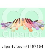 Clipart Of A Row Of Colorful Piano Keys On Green Royalty Free Vector Illustration by BNP Design Studio