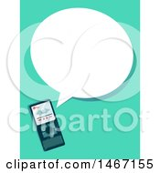 Clipart Of A Voice Recorder And Speech Bubble Royalty Free Vector Illustration