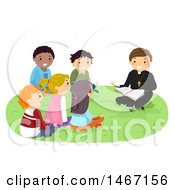 Clipart Of A Group Of Teenagers Gathered Around A Priste At Bible Study Royalty Free Vector Illustration