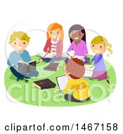 Clipart Of A Group Of Teenagers At A Bible Study Session Royalty Free Vector Illustration