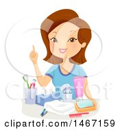 Clipart Of A Woman Discussing Hygiene Royalty Free Vector Illustration