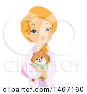 Clipart Of A Woman Wearing A Spa Robe And Carrying Her Dog Royalty Free Vector Illustration