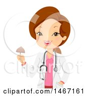 Clipart Of A Female Doctor Holding A Psychadelic Mushroom Royalty Free Vector Illustration by BNP Design Studio
