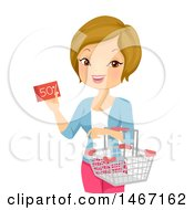 Clipart Of A Happy Woman Holding A Half Off Coupon And Shopping Basket Royalty Free Vector Illustration