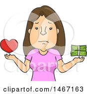 Clipart Of A Cartoon Woman Balancing Love And Money Royalty Free Vector Illustration by BNP Design Studio