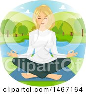 Clipart Of A Woman Meditating On A Lake Royalty Free Vector Illustration