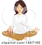 Clipart Of A Woman Meditating With Mala Beads Royalty Free Vector Illustration by BNP Design Studio
