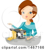 Clipart Of A Woman Making Pasta Royalty Free Vector Illustration