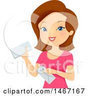 Woman Holding Snail Mail Envelopes