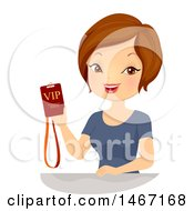 Clipart Of A Woman Holding A Vip Event Pass Royalty Free Vector Illustration by BNP Design Studio