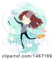 Clipart Of A Young Business Woman Surrounded By Tasks Royalty Free Vector Illustration by BNP Design Studio