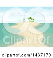 Clipart Of A Sandbar With Palm Trees Royalty Free Vector Illustration by BNP Design Studio
