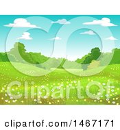 Clipart Of A Landscape Of A Meadow With Spring Flowers Royalty Free Vector Illustration