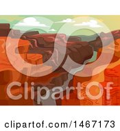 Clipart Of A Landscape Background Of A River In A Canyon Royalty Free Vector Illustration by BNP Design Studio