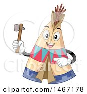 Clipart Of A Happy Tipi Mascot Holding An Axe Royalty Free Vector Illustration