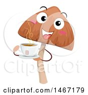 Poster, Art Print Of Psychedelic Mushroom Mascot With A Cup Of Hot Tea