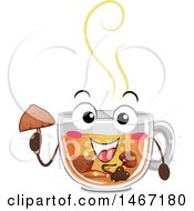 Poster, Art Print Of Cup Of Hot Tea Mascot With Psychadelic Mushrooms