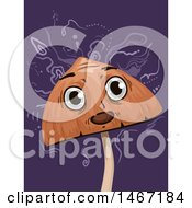 Clipart Of A Psychedelic Mushroom Mascot Hallucinating Royalty Free Vector Illustration