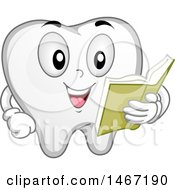 Clipart Of A Tooth Mascot Reading A Book Royalty Free Vector Illustration