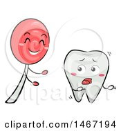 Clipart Of A Tooth Mascot Running From A Lollipop Royalty Free Vector Illustration