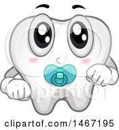 Clipart Of A Baby Tooth Mascot With A Pacifier Royalty Free Vector Illustration