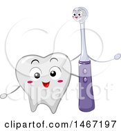 Clipart Of A Happy Electric Toothbrush Mascot And Tooth Royalty Free Vector Illustration by BNP Design Studio