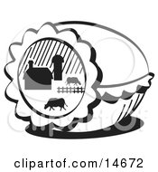 Easter Egg With A Farm Scene Of Cows Grazing In A Pasture Near A Barn Black And White Clipart Illustration