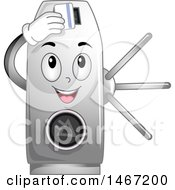 Clipart Of A Turnstile Mascot Inserting A Card Royalty Free Vector Illustration by BNP Design Studio
