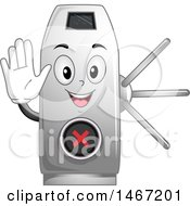 Clipart Of A Turnstile Mascot Gesturing To Stop Royalty Free Vector Illustration