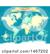 Poster, Art Print Of World Map With A Compass