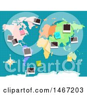 Clipart Of A Colorful World Map With Pictures Pinned Royalty Free Vector Illustration by BNP Design Studio