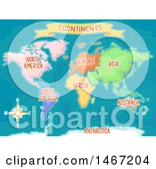Colorful World Map Showing The Seven Continents