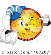 Clipart Of A Clock Mascot Ready For A Nap Royalty Free Vector Illustration by BNP Design Studio